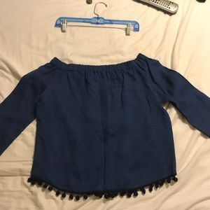 Zara woman off shoulder linen blouse